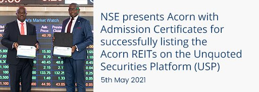 NSE presents Acorn with admission certificates for successfully listing the acorn reits
